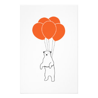 Flying Polar Bear with Balloons Stationery Paper