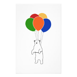 Flying Polar Bear with Birthday Balloons Customised Stationery