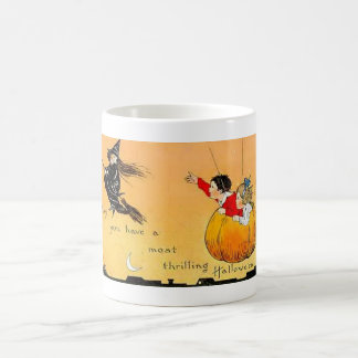 Flying Pumpkn and Witch Vintage Halloween Mug