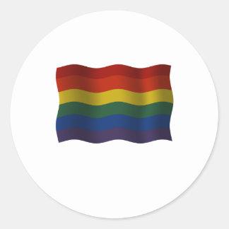 Flying Rainbow pride flag Round Sticker