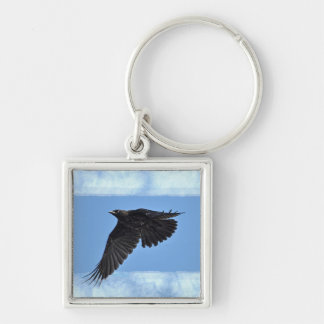 Flying Raven Modern Art in Blue Key Ring