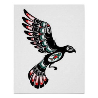 Flying Red and Black Haida Spirit Bird, white Poster