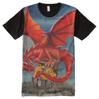 Flying Red Dragon's Treasure Chest All-Over Print T-Shirt