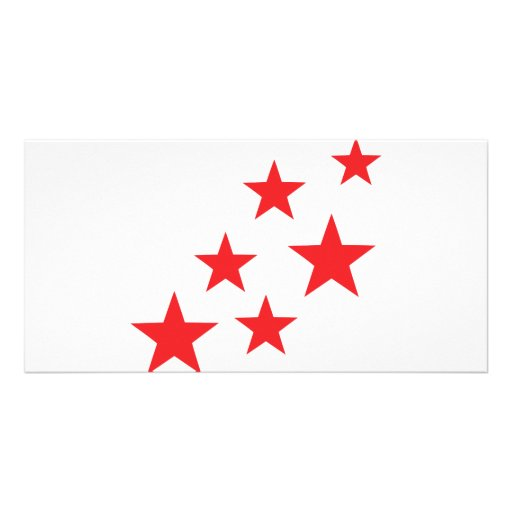flying red stars icon photo card