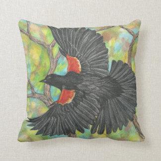 Flying Redwing Blackbird Cushion