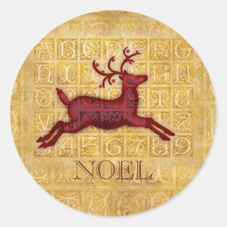 Flying Reindeer NOEL Classic Round Sticker