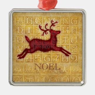 Flying Reindeer NOEL Metal Ornament