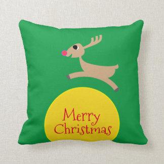 Flying Reindeer Throw Pillow