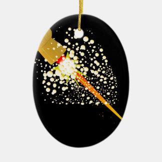 Flying Rocket Powered Cork Ceramic Ornament