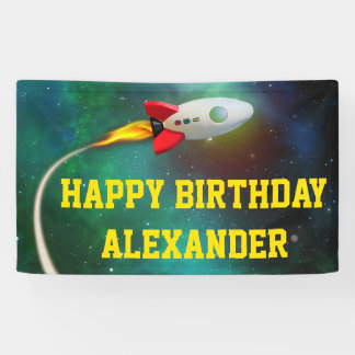Flying Rocket Spaceship Galaxy Kids Birthday Party Banner