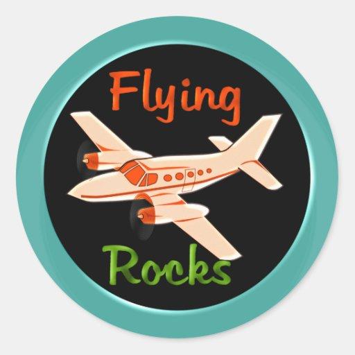 Flying Rocks Round Sticker