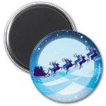 Flying Santa 6 Cm Round Magnet
