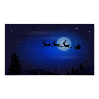 Flying Santa and his reindeers at night Poster