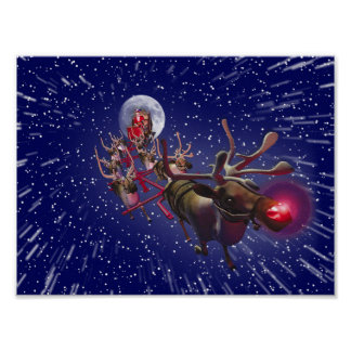 Flying Santa Claus Red Nosed Reindeer Poster
