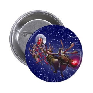 Flying Santa Claus Rudolph Red Nosed Reindeer Pinback Button
