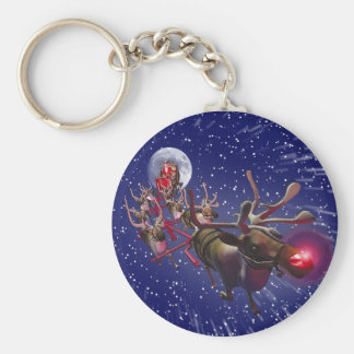 Flying Santa Claus & Rudolph, Red Nosed Reindeer Keychain