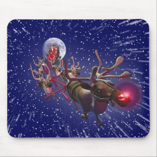 Flying Santa Claus & Rudolph, Red Nosed Reindeer Mouse Mats