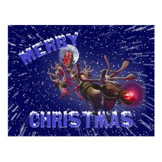 Flying Santa Claus & Rudolph, Red Nosed Reindeer Postcard