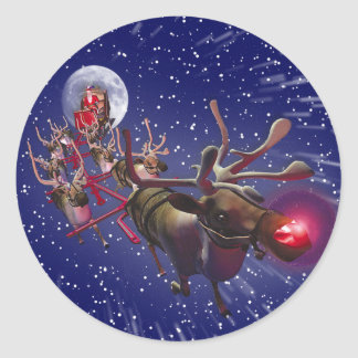 Flying Santa Claus & Rudolph, Red Nosed Reindeer Round Sticker