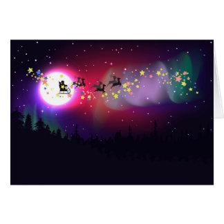 Flying Santa over Aurora Borealis Card