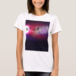Flying Santa over Aurora Borealis T-Shirt