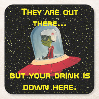 FLYING SAUCER FUNNY SPACE ALIEN by Jetpackcorps Square Paper Coaster