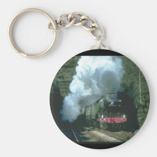Flying Scotsman caught between_Steam Trains Basic Round Button Key Ring