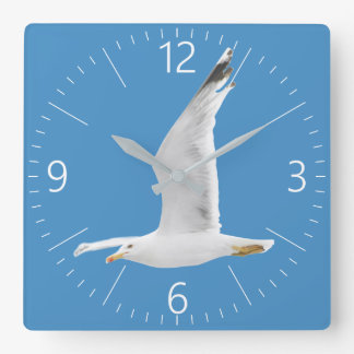 Flying seagull square wall clock