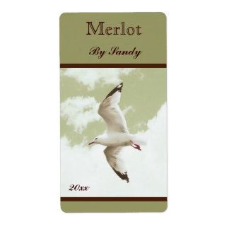 flying seagull wine bottle label shipping label
