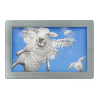 FLYING SHEEP 2 RECTANGULAR BELT BUCKLE