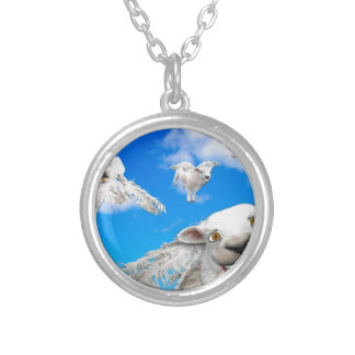 FLYING SHEEP 5 SILVER PLATED NECKLACE