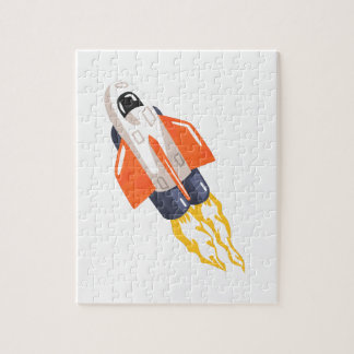 Flying Shuttle Spacecraft Fith Flames Coming From Jigsaw Puzzle