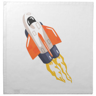 Flying Shuttle Spacecraft Fith Flames Coming From Napkin