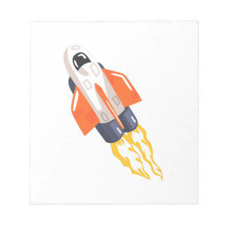 Flying Shuttle Spacecraft Fith Flames Coming From Notepad