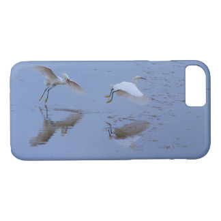 Flying Snowy Egret Heron over Water iPhone 7 Case