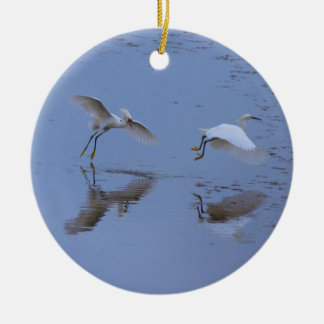 Flying Snowy Egret Heron over Water Round Ceramic Decoration