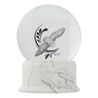 Flying Snowy Owl Snow Globe