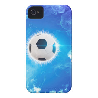 Flying soccer surrounded by white, blue fire iPhone 4 Case-Mate case