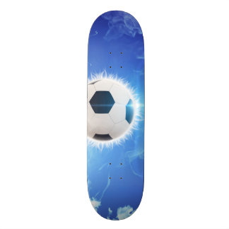 Flying soccer surrounded by white, blue fire skate board deck