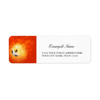 Flying soccer with flames return address label