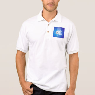 Flying soccer with water splashes polo t-shirt