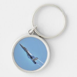 Flying Supersonic Airforce Jet Silver-Colored Round Key Ring