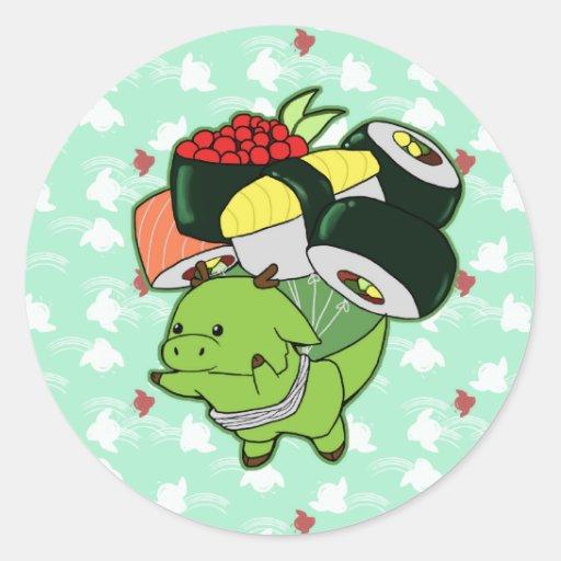 Flying sushi dragon sticker