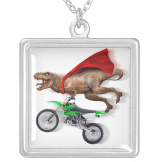Flying t rex  - t rex motorcycle - t rex ride silver plated necklace