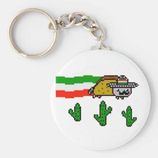 Flying Taco Cat Basic Round Button Key Ring