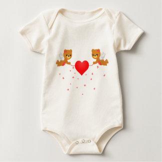Flying Teddy Bear Holding Love Baby Bodysuit