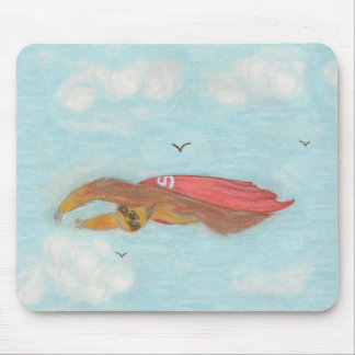 Flying Three Toed Sloth with red cape, Supersloth Mouse Pad