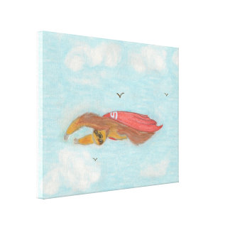 Flying Three Toed Sloth with red cape, Supersloth Stretched Canvas Print