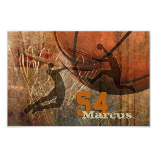 flying to the hoop mens basketball dunk poster