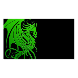 Flying Tribal Dragon - green on black Business Card Templates